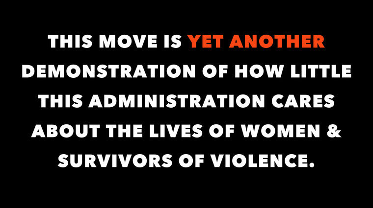 Statement about Trump administration on women and survivors of violence