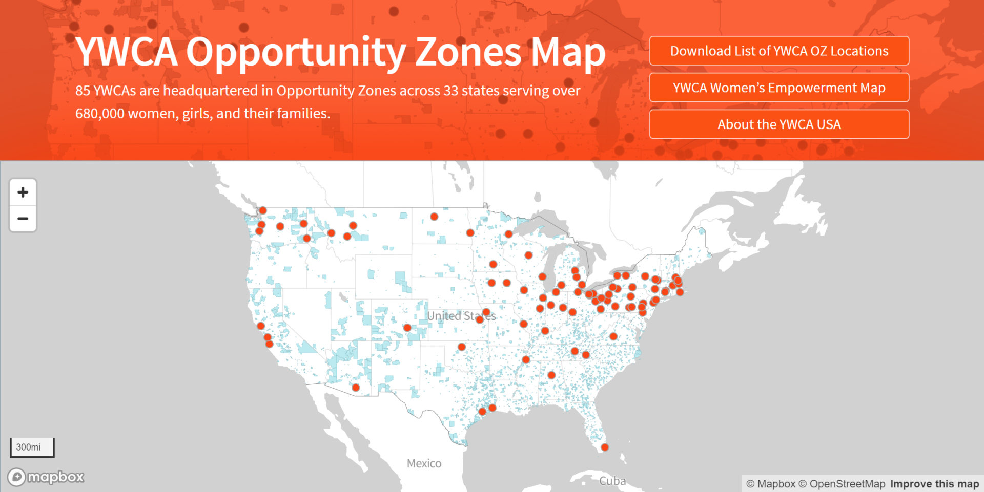 YWCA Opportunity Zones Map 2020