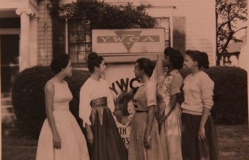 African American women standing in front of YWCA Mountclair